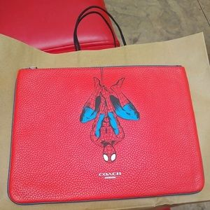 COACH (1826)  Marvel Spider Leather Large Pouch